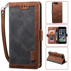 Luxury Retro Stitching Leather Wallet Phone Case for iPhone 8 Plus / 7 Plus 7P(5.5 inch) - Gray