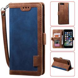 Luxury Retro Stitching Leather Wallet Phone Case for iPhone 8 Plus / 7 Plus 7P(5.5 inch) - Dark Blue