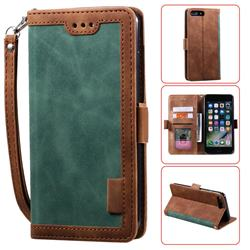 Luxury Retro Stitching Leather Wallet Phone Case for iPhone 8 Plus / 7 Plus 7P(5.5 inch) - Dark Green