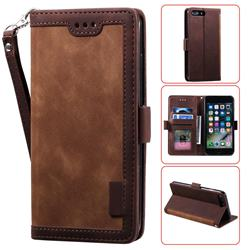 Luxury Retro Stitching Leather Wallet Phone Case for iPhone 8 Plus / 7 Plus 7P(5.5 inch) - Dark Brown