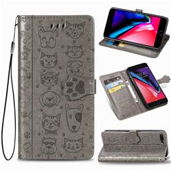 Embossing Dog Paw Kitten and Puppy Leather Wallet Case for iPhone 8 Plus / 7 Plus 7P(5.5 inch) - Gray