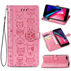 Embossing Dog Paw Kitten and Puppy Leather Wallet Case for iPhone 8 Plus / 7 Plus 7P(5.5 inch) - Pink