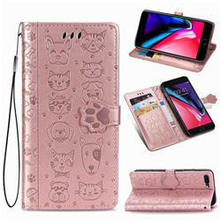 Embossing Dog Paw Kitten and Puppy Leather Wallet Case for iPhone 8 Plus / 7 Plus 7P(5.5 inch) - Rose Gold