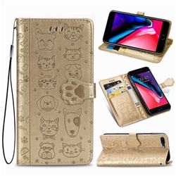 Embossing Dog Paw Kitten and Puppy Leather Wallet Case for iPhone 8 Plus / 7 Plus 7P(5.5 inch) - Champagne Gold