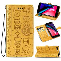 Embossing Dog Paw Kitten and Puppy Leather Wallet Case for iPhone 8 Plus / 7 Plus 7P(5.5 inch) - Yellow