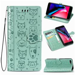 Embossing Dog Paw Kitten and Puppy Leather Wallet Case for iPhone 8 Plus / 7 Plus 7P(5.5 inch) - Green