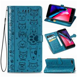Embossing Dog Paw Kitten and Puppy Leather Wallet Case for iPhone 8 Plus / 7 Plus 7P(5.5 inch) - Blue