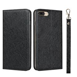 Ultra Slim Magnetic Automatic Suction Silk Lanyard Leather Flip Cover for iPhone 8 Plus / 7 Plus 7P(5.5 inch) - Black