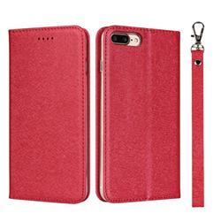 Ultra Slim Magnetic Automatic Suction Silk Lanyard Leather Flip Cover for iPhone 8 Plus / 7 Plus 7P(5.5 inch) - Red