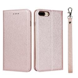 Ultra Slim Magnetic Automatic Suction Silk Lanyard Leather Flip Cover for iPhone 8 Plus / 7 Plus 7P(5.5 inch) - Rose Gold