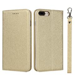 Ultra Slim Magnetic Automatic Suction Silk Lanyard Leather Flip Cover for iPhone 8 Plus / 7 Plus 7P(5.5 inch) - Golden