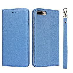 Ultra Slim Magnetic Automatic Suction Silk Lanyard Leather Flip Cover for iPhone 8 Plus / 7 Plus 7P(5.5 inch) - Sky Blue