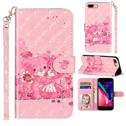 Pink Bear 3D Leather Phone Holster Wallet Case for iPhone 8 Plus / 7 Plus 7P(5.5 inch)