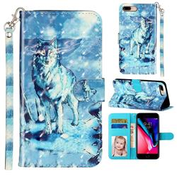 Snow Wolf 3D Leather Phone Holster Wallet Case for iPhone 8 Plus / 7 Plus 7P(5.5 inch)