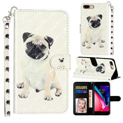 Pug Dog 3D Leather Phone Holster Wallet Case for iPhone 8 Plus / 7 Plus 7P(5.5 inch)