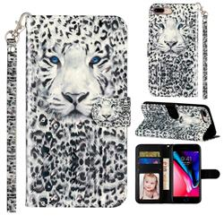 White Leopard 3D Leather Phone Holster Wallet Case for iPhone 8 Plus / 7 Plus 7P(5.5 inch)