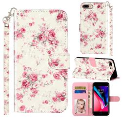 Rambler Rose Flower 3D Leather Phone Holster Wallet Case for iPhone 8 Plus / 7 Plus 7P(5.5 inch)