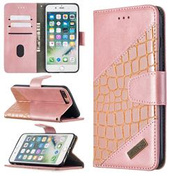 BinfenColor BF04 Color Block Stitching Crocodile Leather Case Cover for iPhone 8 Plus / 7 Plus 7P(5.5 inch) - Rose Gold