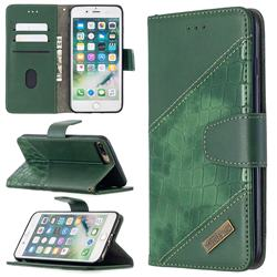 BinfenColor BF04 Color Block Stitching Crocodile Leather Case Cover for iPhone 8 Plus / 7 Plus 7P(5.5 inch) - Green