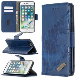 BinfenColor BF04 Color Block Stitching Crocodile Leather Case Cover for iPhone 8 Plus / 7 Plus 7P(5.5 inch) - Blue