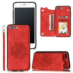 Luxury Mandala Multi-function Magnetic Card Slots Stand Leather Back Cover for iPhone 8 Plus / 7 Plus 7P(5.5 inch) - Red