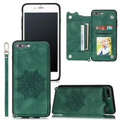 Luxury Mandala Multi-function Magnetic Card Slots Stand Leather Back Cover for iPhone 8 Plus / 7 Plus 7P(5.5 inch) - Green