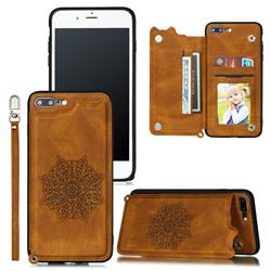 Luxury Mandala Multi-function Magnetic Card Slots Stand Leather Back Cover for iPhone 8 Plus / 7 Plus 7P(5.5 inch) - Brown