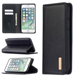 Binfen Color BF06 Luxury Classic Genuine Leather Detachable Magnet Holster Cover for iPhone 8 Plus / 7 Plus 7P(5.5 inch) - Black