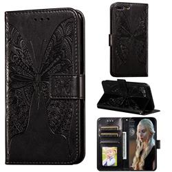 Intricate Embossing Vivid Butterfly Leather Wallet Case for iPhone 8 Plus / 7 Plus 7P(5.5 inch) - Black