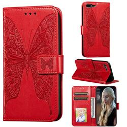 Intricate Embossing Vivid Butterfly Leather Wallet Case for iPhone 8 Plus / 7 Plus 7P(5.5 inch) - Red