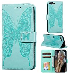 Intricate Embossing Vivid Butterfly Leather Wallet Case for iPhone 8 Plus / 7 Plus 7P(5.5 inch) - Green