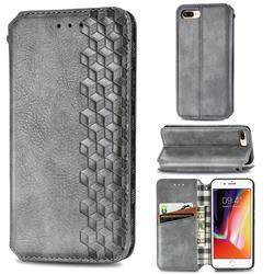 Ultra Slim Fashion Business Card Magnetic Automatic Suction Leather Flip Cover for iPhone 8 Plus / 7 Plus 7P(5.5 inch) - Grey