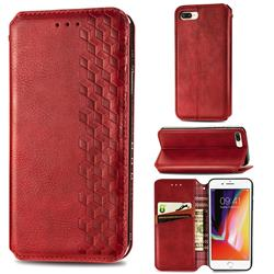 Ultra Slim Fashion Business Card Magnetic Automatic Suction Leather Flip Cover for iPhone 8 Plus / 7 Plus 7P(5.5 inch) - Red