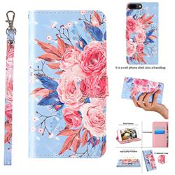 Rose Flower 3D Painted Leather Wallet Case for iPhone 8 Plus / 7 Plus 7P(5.5 inch)