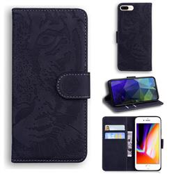 Intricate Embossing Tiger Face Leather Wallet Case for iPhone 8 Plus / 7 Plus 7P(5.5 inch) - Black