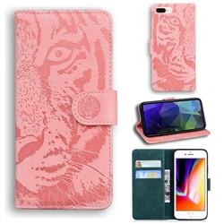 Intricate Embossing Tiger Face Leather Wallet Case for iPhone 8 Plus / 7 Plus 7P(5.5 inch) - Pink