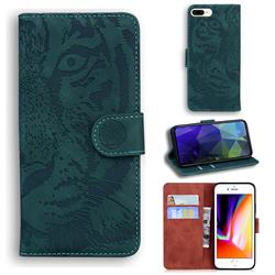 Intricate Embossing Tiger Face Leather Wallet Case for iPhone 8 Plus / 7 Plus 7P(5.5 inch) - Green
