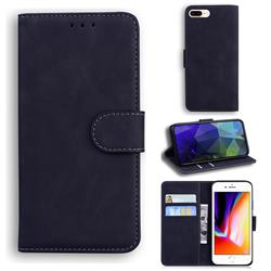 Retro Classic Skin Feel Leather Wallet Phone Case for iPhone 8 Plus / 7 Plus 7P(5.5 inch) - Black