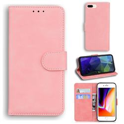 Retro Classic Skin Feel Leather Wallet Phone Case for iPhone 8 Plus / 7 Plus 7P(5.5 inch) - Pink