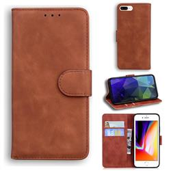 Retro Classic Skin Feel Leather Wallet Phone Case for iPhone 8 Plus / 7 Plus 7P(5.5 inch) - Brown