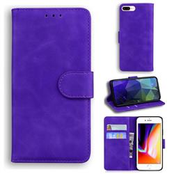 Retro Classic Skin Feel Leather Wallet Phone Case for iPhone 8 Plus / 7 Plus 7P(5.5 inch) - Purple