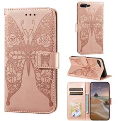 Intricate Embossing Rose Flower Butterfly Leather Wallet Case for iPhone 8 Plus / 7 Plus 7P(5.5 inch) - Rose Gold