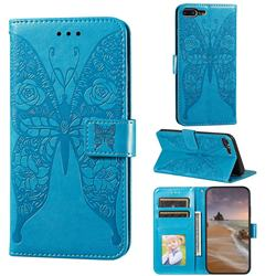 Intricate Embossing Rose Flower Butterfly Leather Wallet Case for iPhone 8 Plus / 7 Plus 7P(5.5 inch) - Blue