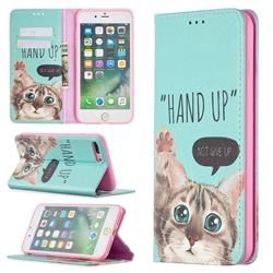 Hand Up Cat Slim Magnetic Attraction Wallet Flip Cover for iPhone 8 Plus / 7 Plus 7P(5.5 inch)
