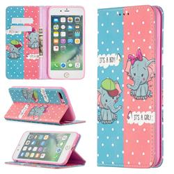 Elephant Boy and Girl Slim Magnetic Attraction Wallet Flip Cover for iPhone 8 Plus / 7 Plus 7P(5.5 inch)