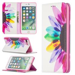 Sun Flower Slim Magnetic Attraction Wallet Flip Cover for iPhone 8 Plus / 7 Plus 7P(5.5 inch)