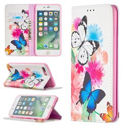 Flying Butterflies Slim Magnetic Attraction Wallet Flip Cover for iPhone 8 Plus / 7 Plus 7P(5.5 inch)