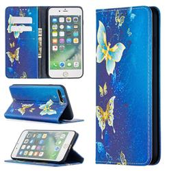 Gold Butterfly Slim Magnetic Attraction Wallet Flip Cover for iPhone 8 Plus / 7 Plus 7P(5.5 inch)