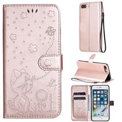 Embossing Bee and Cat Leather Wallet Case for iPhone 8 Plus / 7 Plus 7P(5.5 inch) - Rose Gold