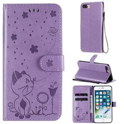 Embossing Bee and Cat Leather Wallet Case for iPhone 8 Plus / 7 Plus 7P(5.5 inch) - Purple